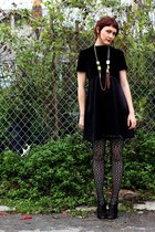black vintage dress - black Trina Turk tights - black Elizabeth and James heels
