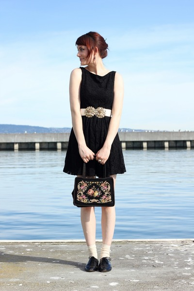 black lace Forever21 dress - black embroidered vintage bag - cream Anthropologie