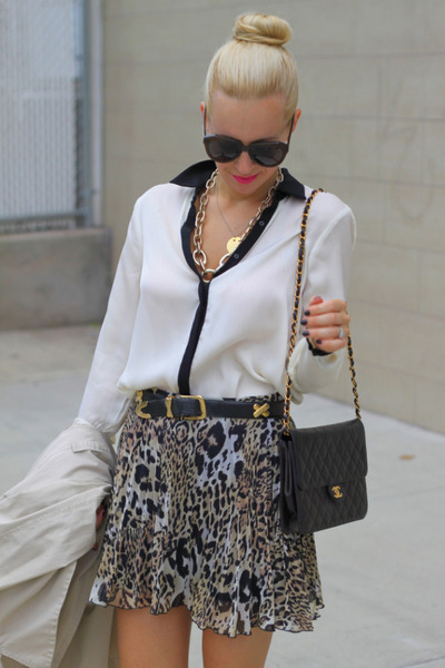 asos skirt - vintage chanel bag - Karen Walker sunglasses - Zara top
