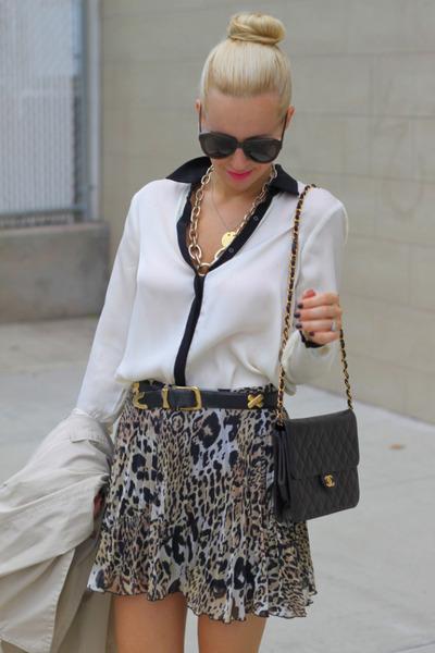 asos skirt - vintage chanel bag - Karen Walker sunglasses - Zara top