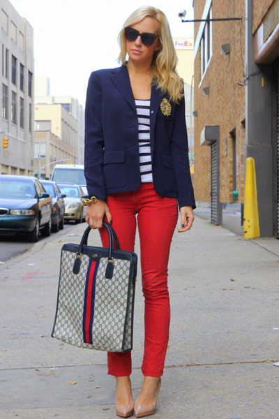 Vintage Gucci bag - Rich &amp; Skinny jeans - Ralph Lauren blazer