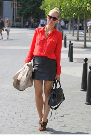 Zara leather skirt - Amanda Schutz shoes - J Crew shirt - balenciaga bag