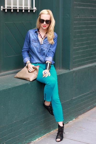 Kelis Dagger shoes - Rich & Skinny jeans - H&M shirt - Karen Walker sunglasses