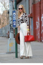 Louis Vuitton bag - American Apparel hat - white H&M pants