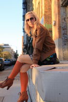 brown gap old jacket - orange asos socks - Zara old skirt - brown sam edelman sh