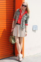 stuart weitzman shoes - Zara jacket - silk J Crew shirt - leather Zara skirt