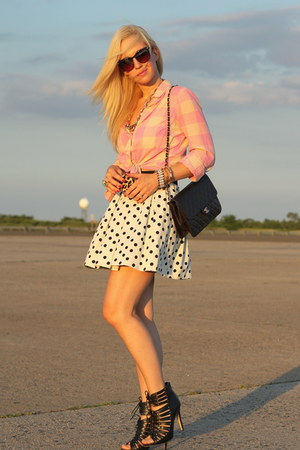 Zara skirt - Dolce Vita shoes - J Crew shirt - Elizabeth and James sunglasses