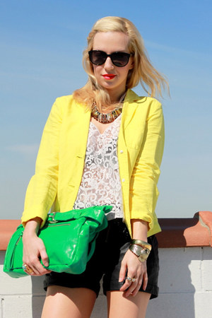 yellow J Crew blazer - chartreuse foley &amp; corinna bag - black ASOS Leather short