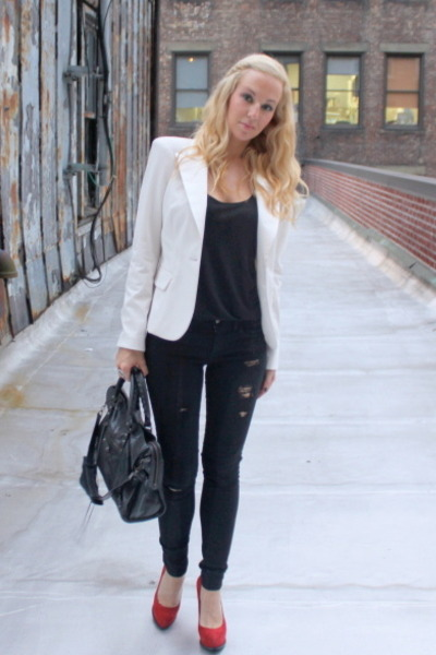 white ABS blazer - black Forever21 jeans - red Guess shoes - black balenciaga ba
