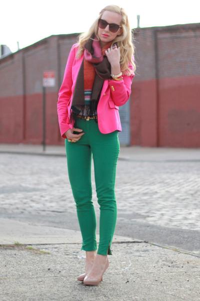 hot pink Zara blazer - nude Christian Louboutin shoes - green Zara jeans