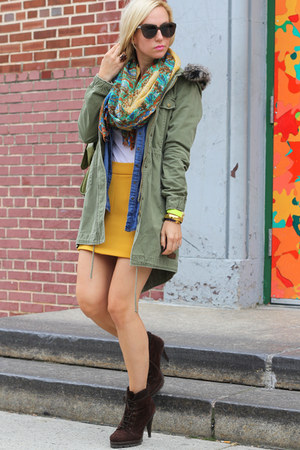 Lucky Brand scarf - Zara shoes - volcom jacket - Zara skirt