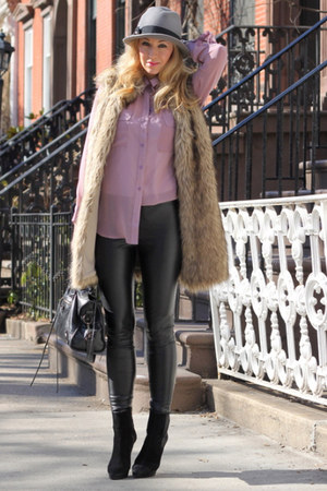 Nasty GIrl shirt - balenciaga bag - black Michael Kors pants - faux fur Michael