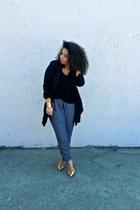 black shirt - blue Urban Outfitters pants - mustard Zara heels