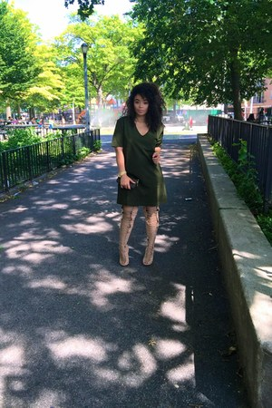 nude tony bianco boots - dark green t-shirt dress asos dress