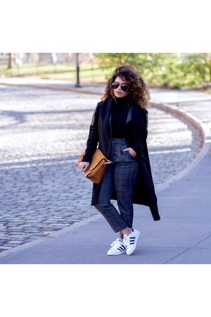 black turtleneck Zara shirt - charcoal gray Zara pants - white Adidas sneakers