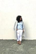 white rag & bone jeans - silver Zara coat - light blue H&M shirt