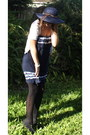 Navy-cotton-valley-girl-dress-navy-mexico-hat-black-spend-less-heels