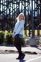 Forever 21 tights - Chanel bag - free people shorts - Forever 21 sweatshirt