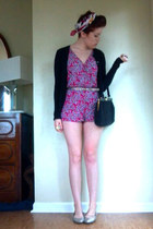 hot pink Forever21 romper - amethyst romper - black thrifted purse
