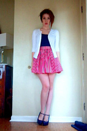 red homemade skirt - navy Converse shirt - white 3-4 sleeve merona cardigan