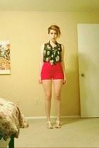 black skull print mono B blouse - red Cooperative shorts - white merona sandals