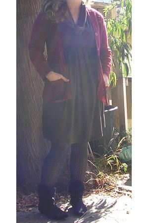 Vintage Boutique in Berkeley sweater - Nordstrom Rack dress - Old Navy tights -