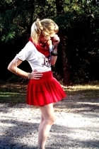 red skirt - white shirt