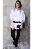 Melissa boots - shirt - tights - belt - wallet