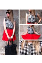 cross necklace - skulls shirt - purse - sunglasses - skirt - belt