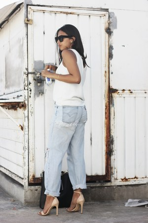 white Zara blouse - light blue Levis jeans - black Celine sunglasses