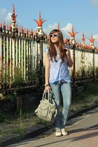 blue clubmaster ray-ban sunglasses - bubble gum striped Topshop top