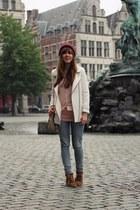 light pink sheer new look shirt - white summer Zara jacket