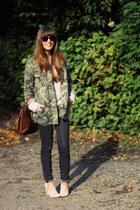 dark brown cat-eye alain afflelou sunglasses - army green parka Zara coat