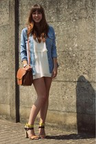 sky blue denim Zara shirt - white flowy Topshop dress