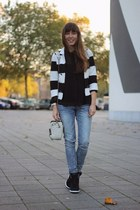 black striped H&M jacket - blue skinny Cheap Monday jeans