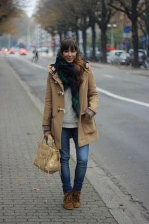 light brown Zara coat - dark green Zara scarf - eggshell Rebecca Minkoff bag