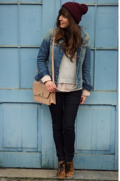 light pink bow Primark bag - navy skinny G-Star jeans - magenta beanie Zara hat