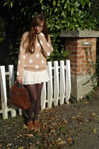 nude dotted H&M sweater - white lace Topshop dress
