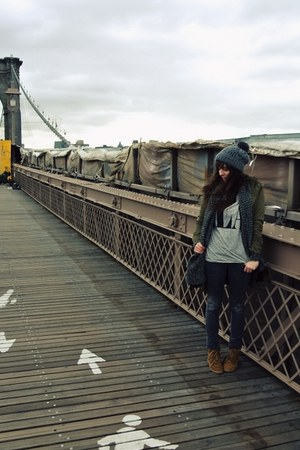 gray knitted Urban Outfitters cardigan - army green parka BDG coat