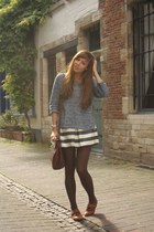 navy Zara jumper - brown new look shoes - brown leather Urban Outfitters bag