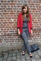 red River Island blazer - charcoal gray skinny jeans Zara jeans