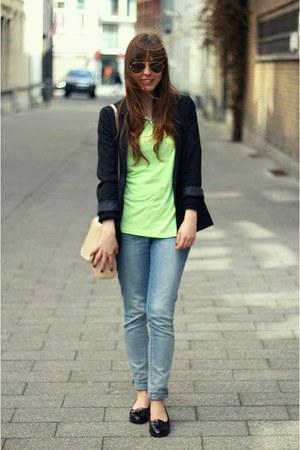 lime green neon Primark t-shirt - black boyfriend H&M blazer