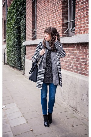 black houndstooth Vila jacket - black booties sam edelman boots