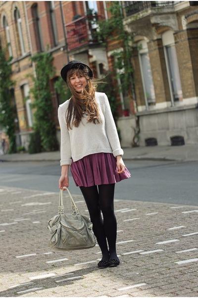 magenta Topshop skirt - black felt H&M hat - silver silver H&M sweater
