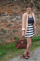 navy asos skirt - nude H&M blazer - navy Topshop top - coral asos heels