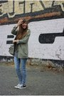 Blue-skinny-cheap-monday-jeans-olive-green-parka-vero-moda-jacket