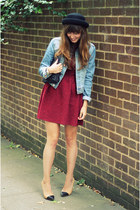 brick red burgundy Topshop dress - black round Topshop hat