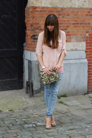 bubble gum bandeau top Topshop top - sky blue skinny Levis jeans