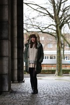 heather gray sweater COS sweater - black boots vintage boots