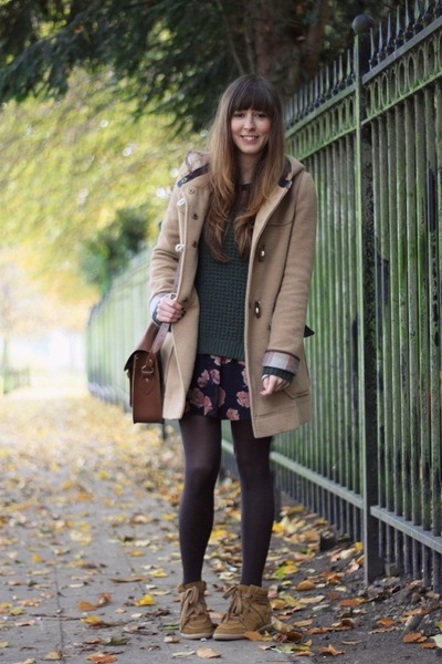camel duffle asos coat - navy floral Urban Outfitters dress
